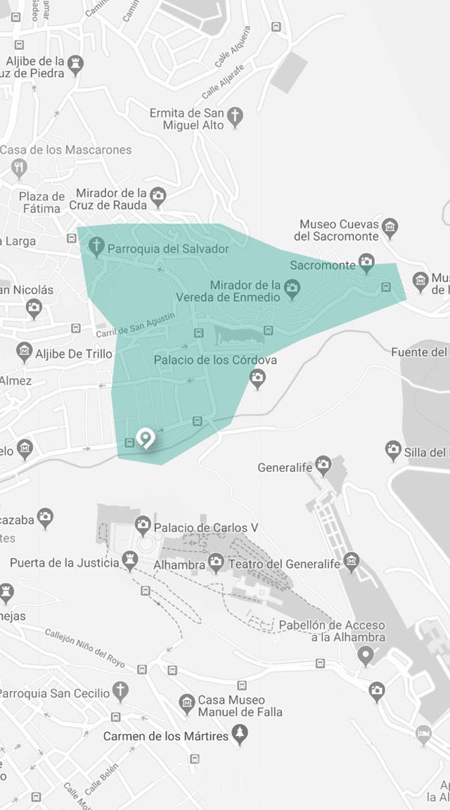 mapa de visita guiada de flamenco en granada