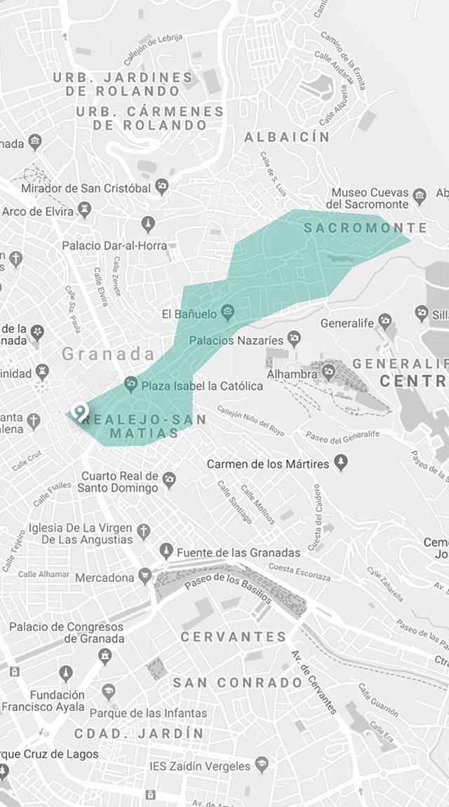 mapa de visita guiada a granada