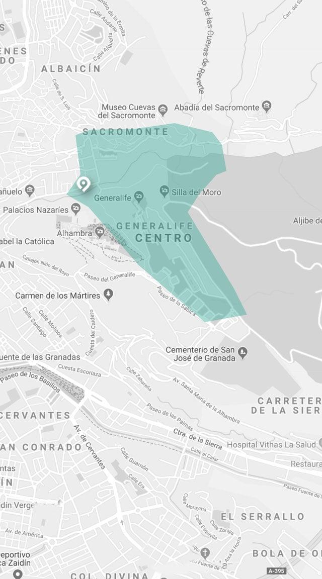 mapa visita de senderismo granada