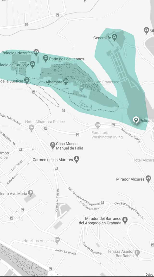 Mapa del punto de encuentro para la visita guiada a la Alhambra